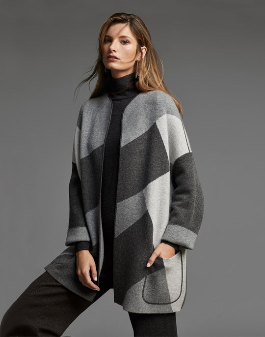 Colorblock Cashmere Cardigan Jacket and Ribbed Knit Pant