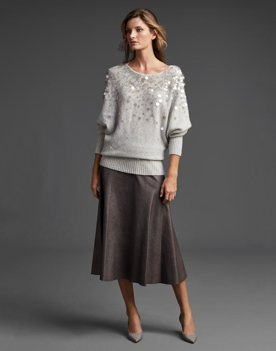 Hand-Embellished Dolman Sweater and Leather Roma Skirt