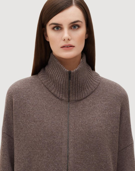 Cashmere Relaxed Zip Front Cardigan