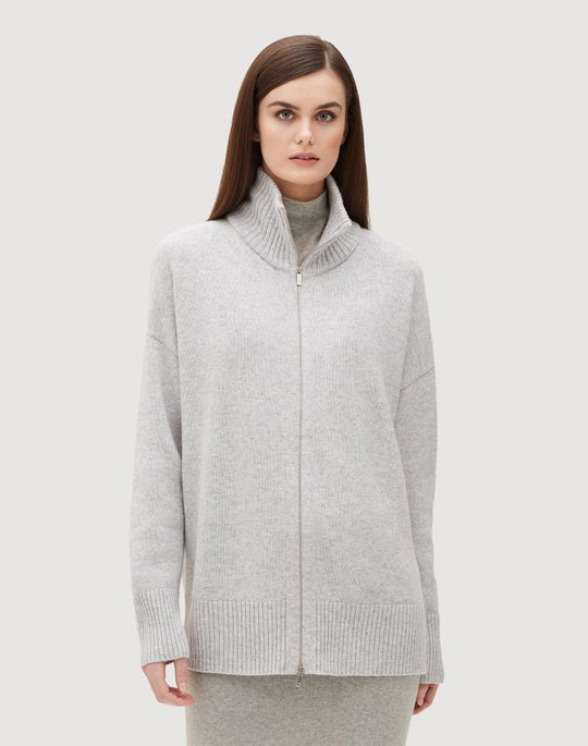 Plus-Size Cashmere Relaxed Zip Front Cardigan