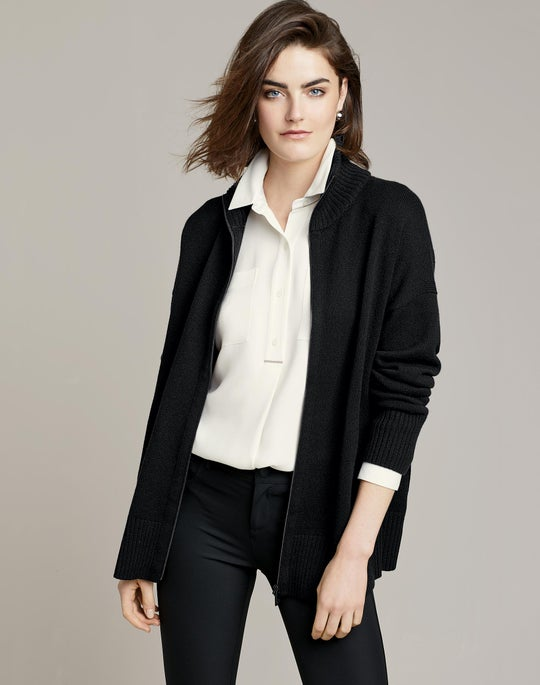 Cashmere Zip Front Cardigan and Mercer Pant