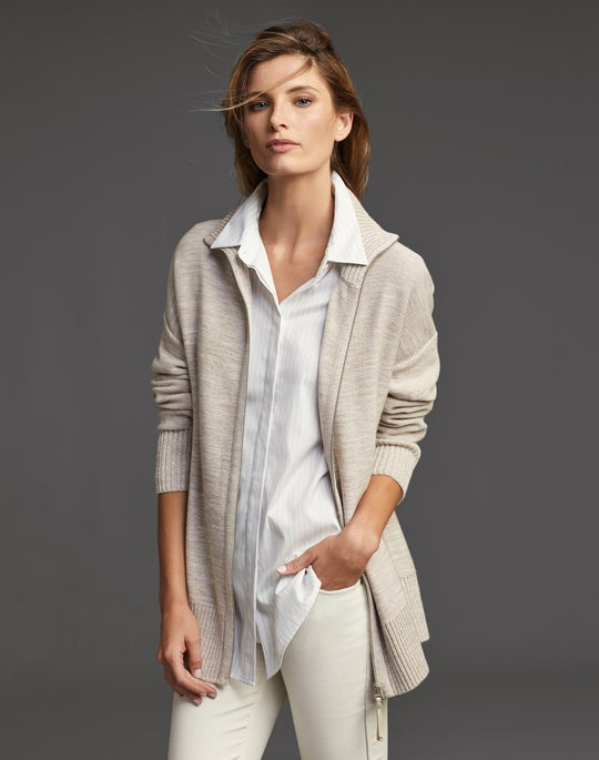 Zip Front Relaxed Cardigan and Mercer Jean