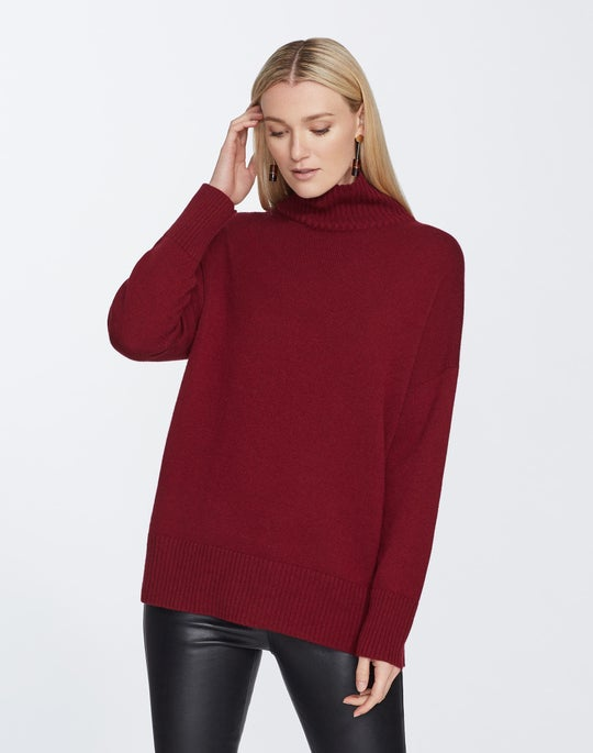 Plus-Size Cashmere Relaxed Turtleneck