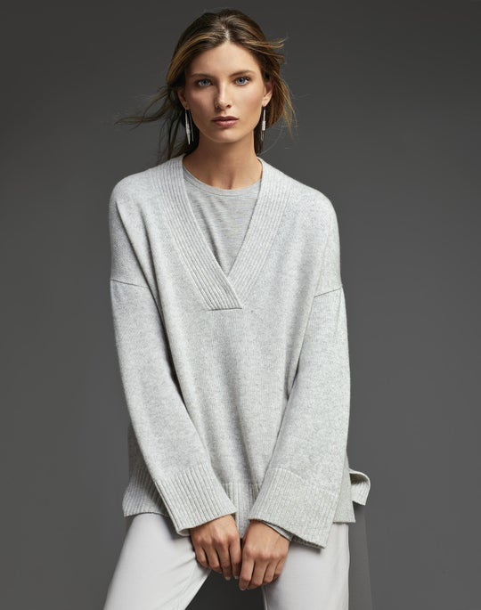 Cashmere Relaxed V-Neck Sweater and Fulton Pant