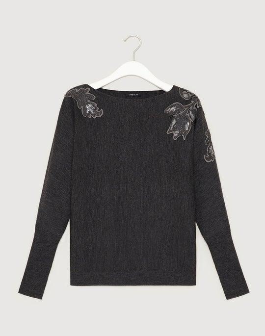 Fine Gauge Merino Embellished Dolman Sweater