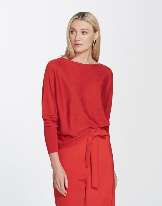 Italian Merino Silk Bateau Neck Dolman Sweater