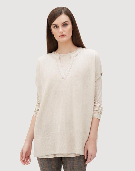 Cashmere Split Neck Sweater