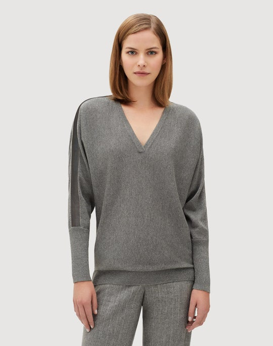 Luxurious Cashmere Silk Dolman V-Neck Sweater