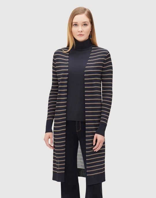 Plus-Size Metropolitan Shine Striped Long Cardigan
