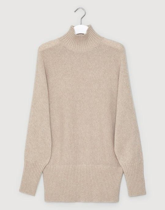 Brushed Cashmere Silk Turtleneck Dolman Sweater