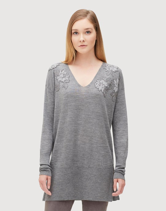 Petite Fine Gauge Merino Embellished V-Neck Sweater