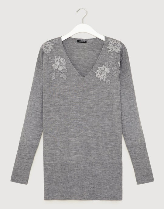 Plus-Size Fine Gauge Merino Embellished V-Neck Sweater