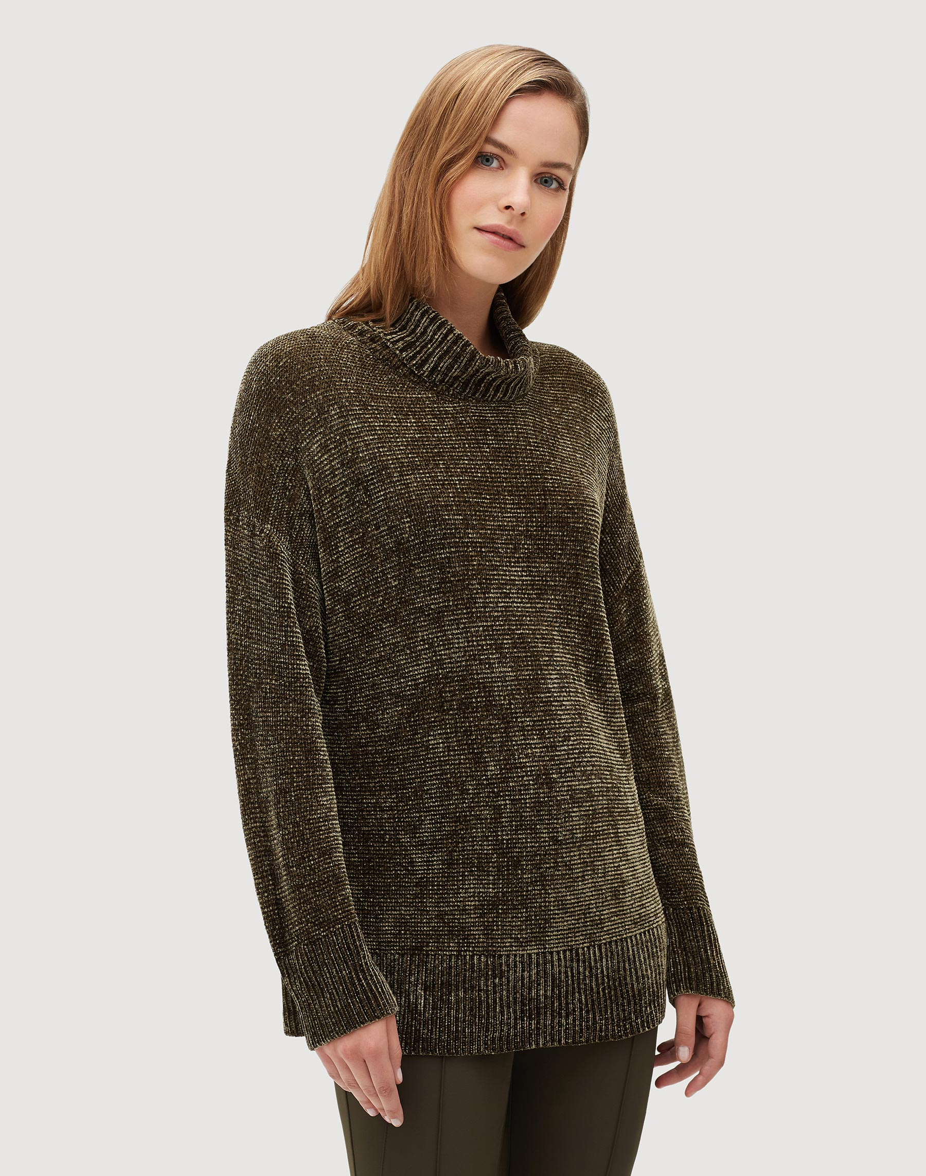 Plus Size Polished Chenille Turtleneck Sweater Lafayette 148 New York