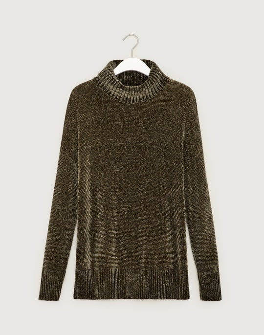 Petite Polished Chenille Turtleneck Sweater