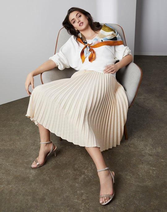 Wide V-Neck Sweater and Florianna Skirt