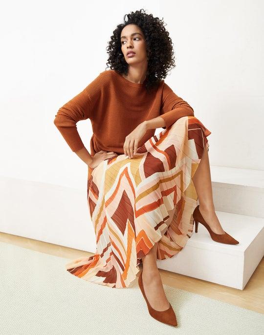 Wide-Neck Tunic Sweater and Jahira Skirt