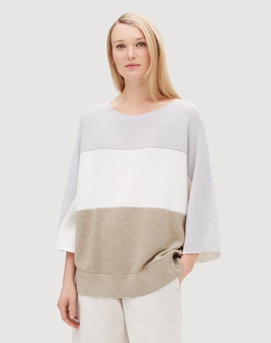 Cotton Cashmere Colorblocked Dolman Pullover