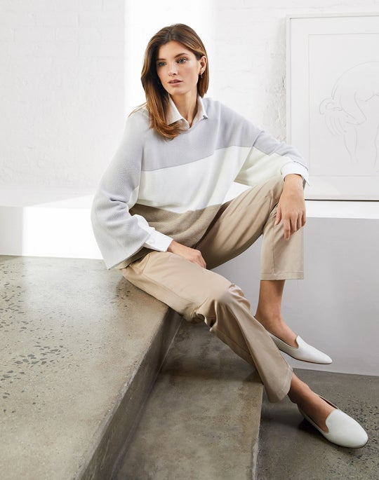 Colorblocked Dolman Sweater and Fulton Pant