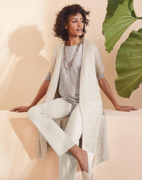 Sequin Cardigan Vest and Fulton Pant