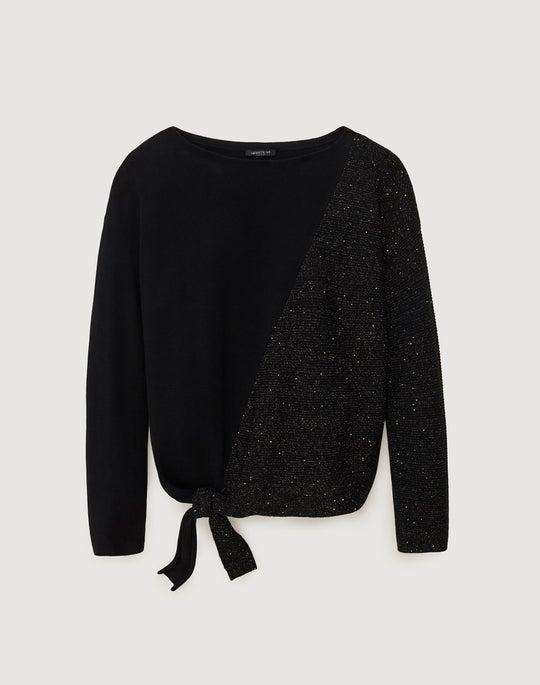 Cotton Silk Tie Front Pullover