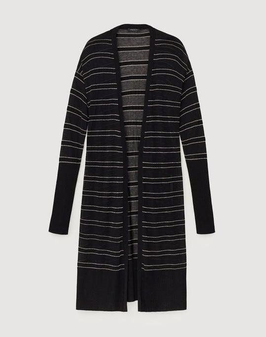 Finespun Voile Long Striped Cardigan