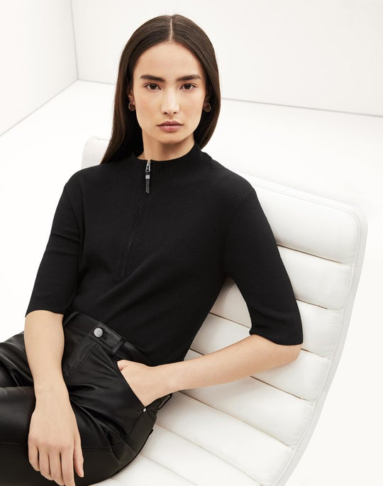 Skinny Rib Sweater and Cropped Mercer Pant