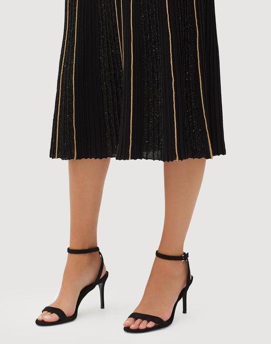 Sequin Silk Fluted Ottoman Pleat Skirt