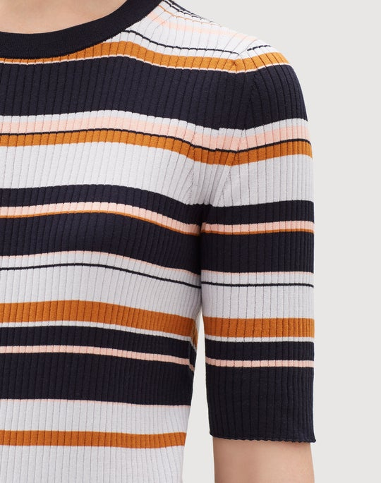 Cotton Silk Striped Rib Pullover