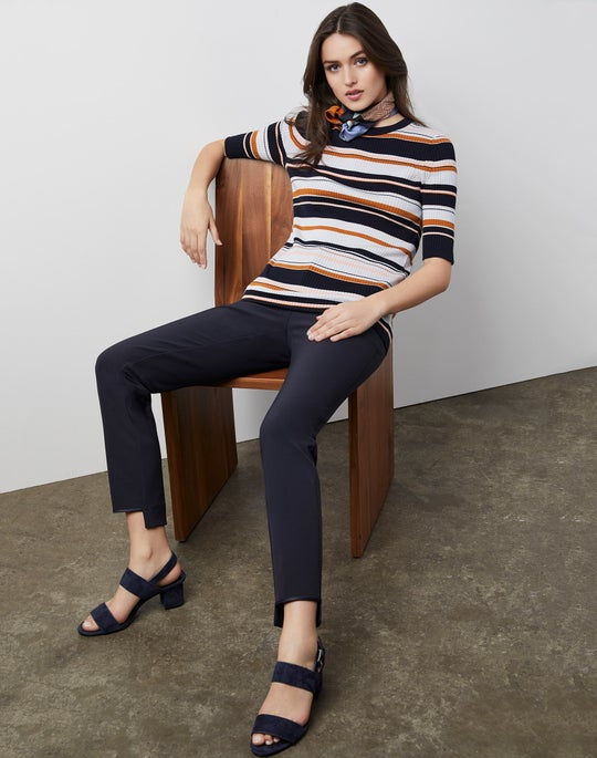 Striped Rib Pullover and Manhattan Pant