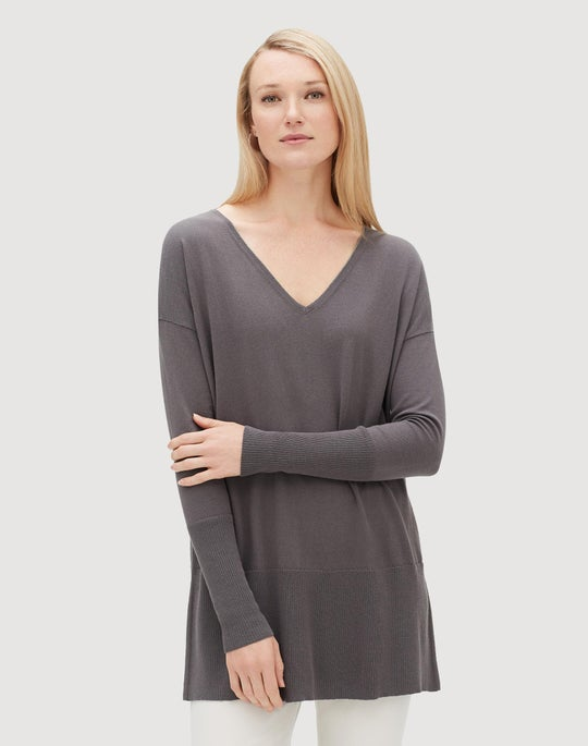 Plus-Size Cotton Cashmere V-Neck Tunic