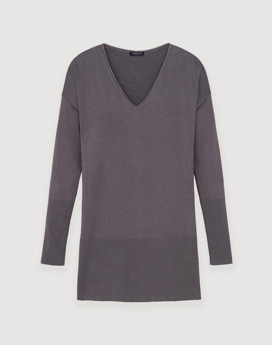 Cotton Cashmere V-Neck Tunic