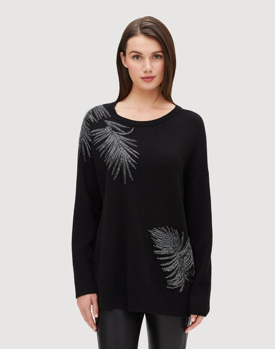 Plus-Size Cashmere Relaxed Embellished Pullover