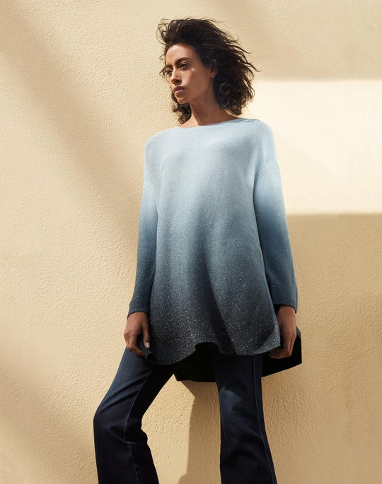 Ombré Sequin Knit Tunic and Mercer Flare Jean