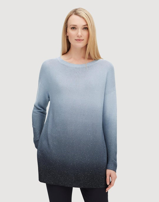 Plus-Size Sequin Silk Ombré Tunic