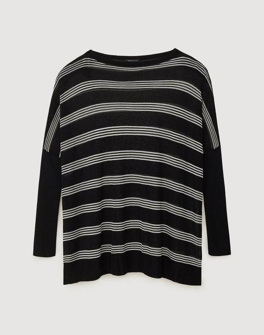 Plus-Size Finespun Voile Oversized Stripe Pullover