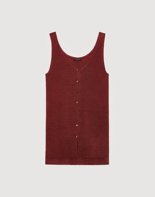 Linen Viscose Button Front Relaxed Sweater Vest