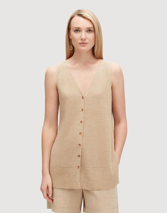 Petite Linen Viscose Button Front Relaxed Sweater Vest