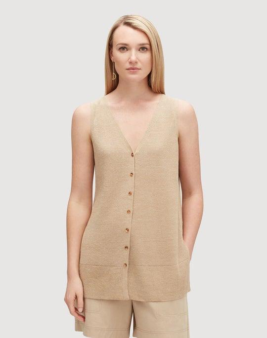 Plus-Size Linen Viscose Button Front Relaxed Sweater Vest