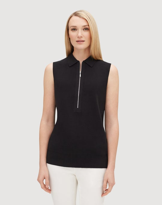 Plus-Size Cotton Crepe Yarn Fitted Sleeveless Polo Sweater