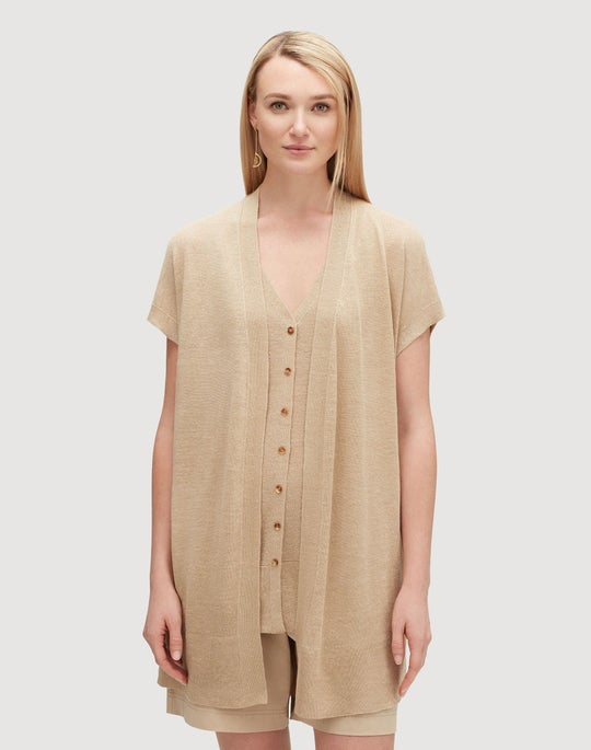 Plus-Size Linen Viscose Relaxed Sweater Vest
