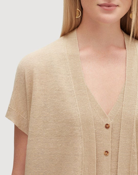 Petite Linen Viscose Relaxed Sweater Vest