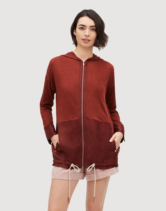 Linen Viscose Relaxed Hooded Sweater Jacket