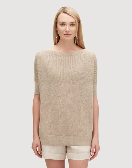 Linen Viscose Oversized Shimmer Tunic Sweater