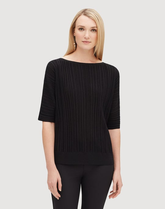 Finespun Voile Relaxed Plisse Rib Dolman Sweater