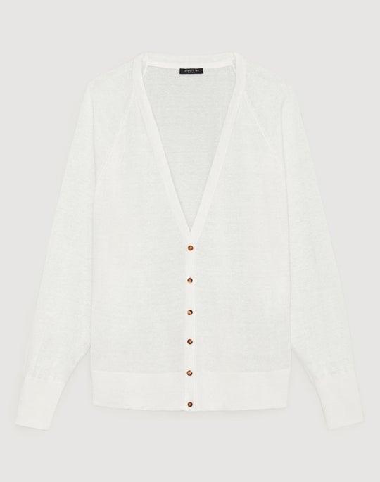 Plus-Size Linen Viscose Relaxed Raglan Cardigan