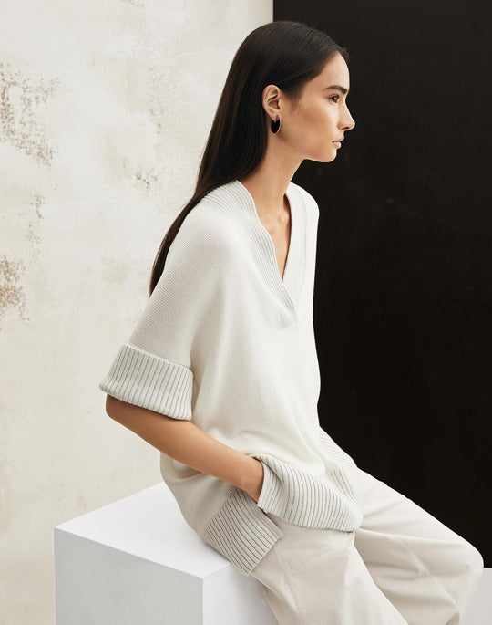 Relaxed V-Neck Sweater and Cropped Fulton Wide-Leg Pant