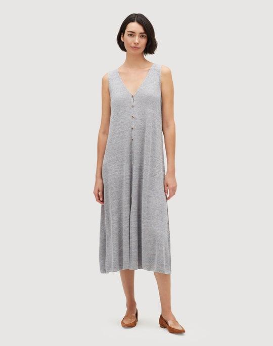 Linen Viscose Button-Front Knit Dress
