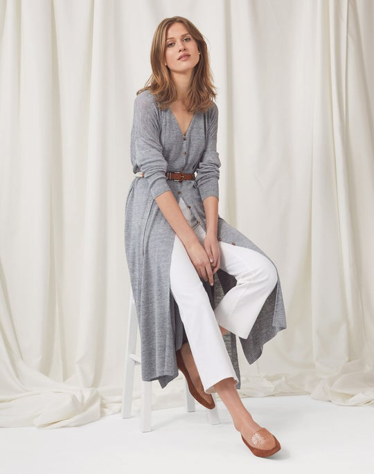 Open Front Relaxed Cardigan and Cropped Mercer Flare Jean