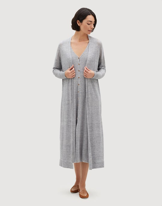 Linen Viscose Open Front Relaxed Cardigan