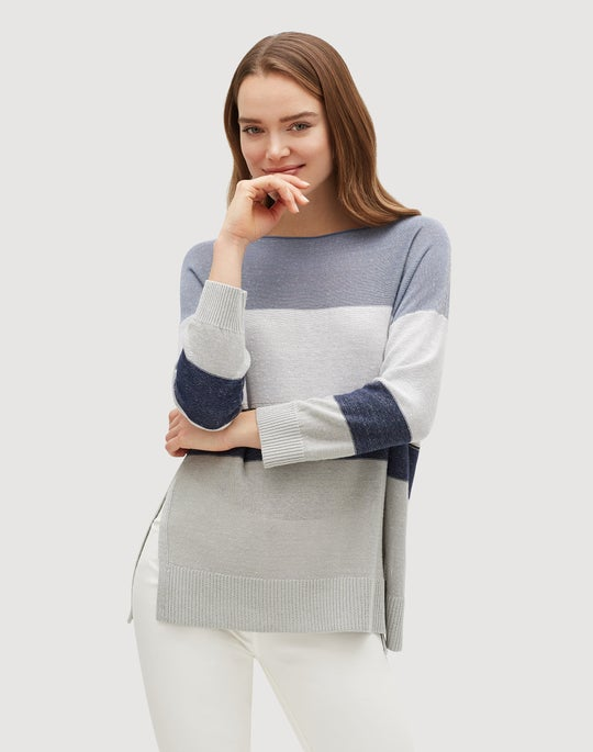 Petite Linen Viscose Chain Embellished Colorblock Sweater